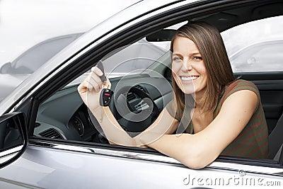 Happy Woman Renting a Car
