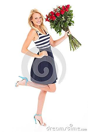 Happy woman roses