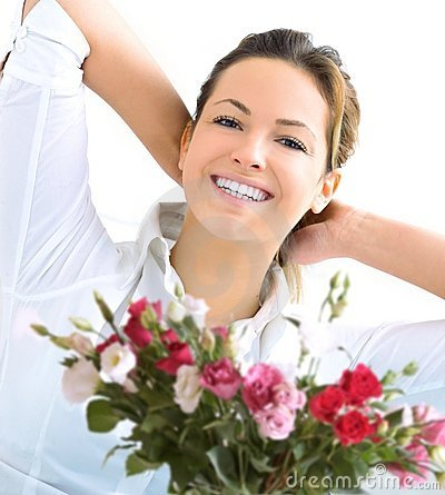 Happy woman and roses