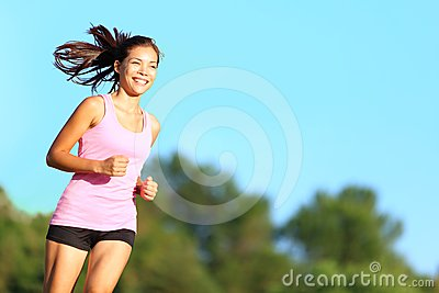 Happy woman running