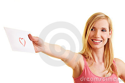 Happy woman sending a love letter
