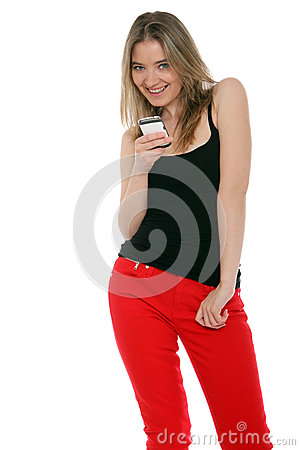 Happy woman sending a text message