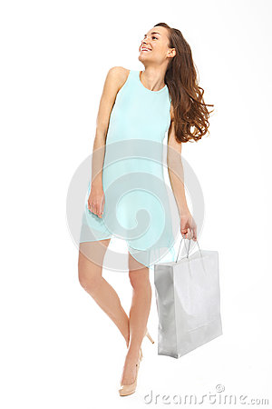 Happy woman on shopping .