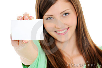 Happy woman showing blank bussiness card in hand