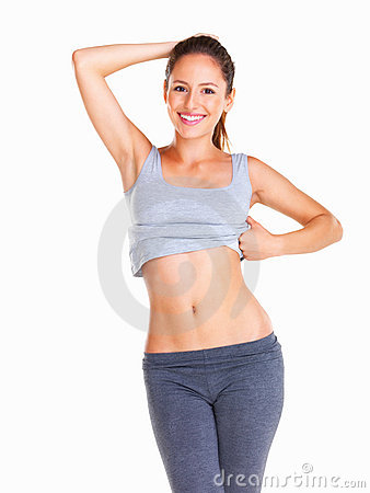 Happy woman showing off results of exercise