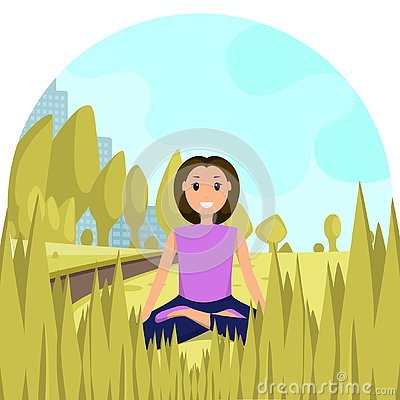 Happy Woman Sitting Lotus Position City Park Vector Illustration