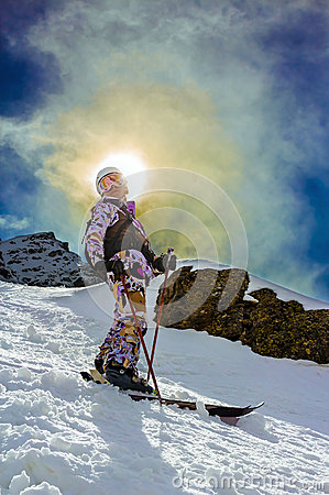 Happy woman on ski vacation