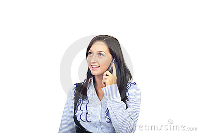 Happy woman speaking by phone mobile