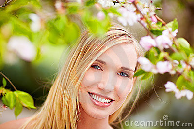 Happy woman in spring
