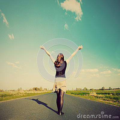 Free Happy Woman Standing On Empty Road. Retro Vintage Style Stock Photography - 31171632