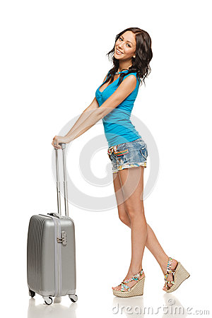 Happy woman with suitcase