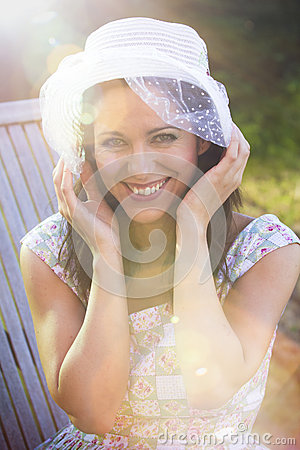 Happy woman in the summer season