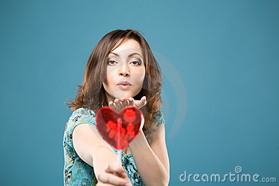 Happy woman with sweet heart