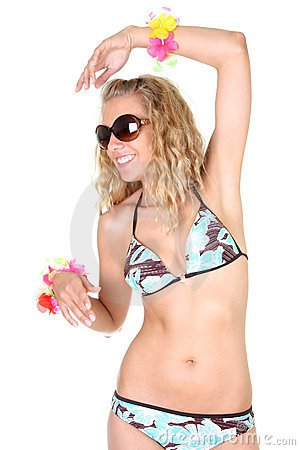 Happy woman in swimsuit and sunglasses