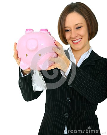 Happy Woman Taking Money Out Of Piggy Bank