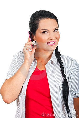 Happy woman talking by cell phone
