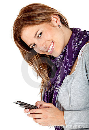 Happy woman texting on her phone