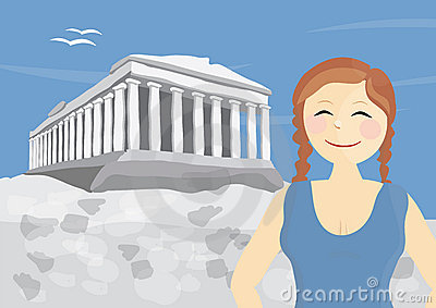 Happy woman tourist near Acropolis of Athens
