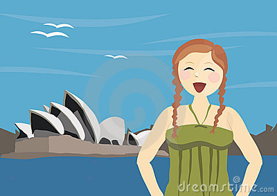 Happy woman tourist standing near Sydney Opera Editorial Image