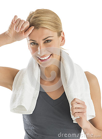 Happy Woman With Towel Around Neck Wiping Sweat