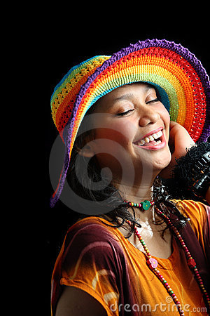 Happy woman in tropical dress