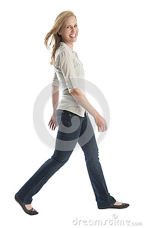 Happy Woman Walking Isolated On White Background