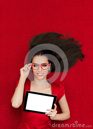 Free Happy Woman Wearing Glasses Holding Tablet Stock Photography - 48706282