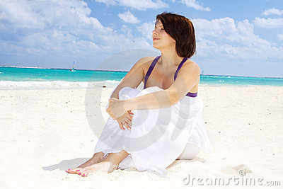 Happy woman with white sarong