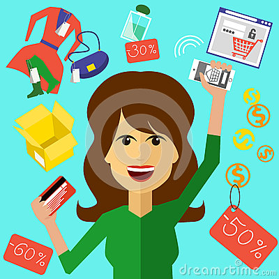 Free Happy Woman With A Card And Phone In Hands Royalty Free Stock Photography - 45497317