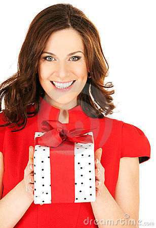 Free Happy Woman With Gift Box Stock Images - 11782714