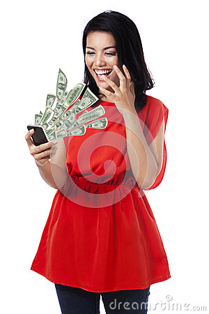 Free Happy Woman With Money From Cellphone Royalty Free Stock Photo - 51120005