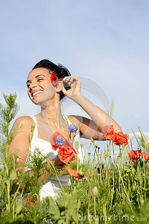 Free Happy Woman With Poppy Royalty Free Stock Image - 41839596