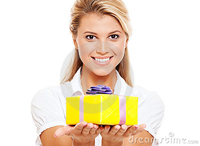 Happy woman with yellow gift