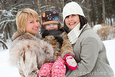 Happy women with daughter
