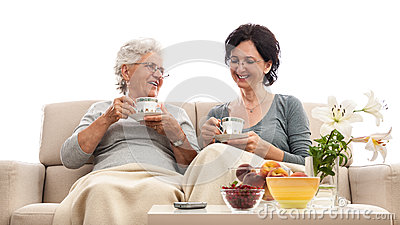 Happy women family coffee small talk gossip