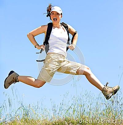 Happy women jump