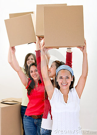 Happy women moving