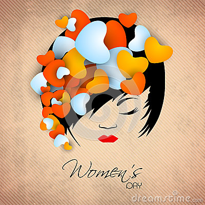 Happy Women s Day greeting card or background with a portrait of