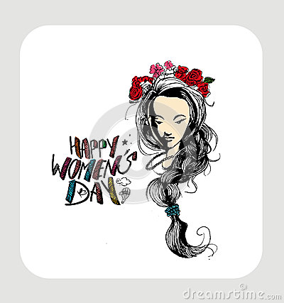 Happy Women`s Day greeting card design.