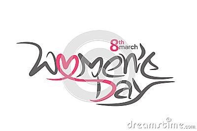 Happy women`s day stylish typography text