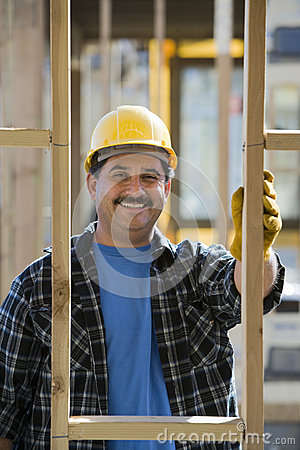 Happy Worker At Construction Site