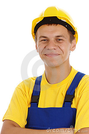 Happy worker fold his arms and smile