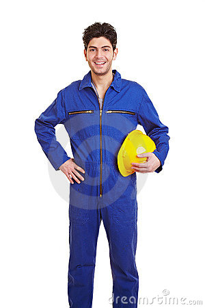 Happy worker in jumpsuit