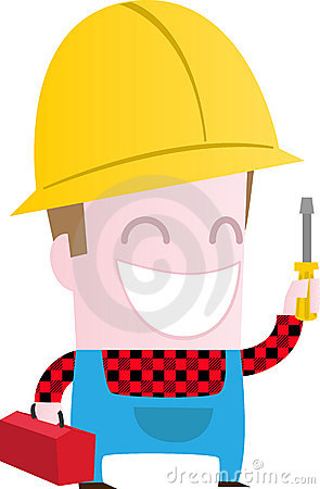 Happy worker with screwdriver