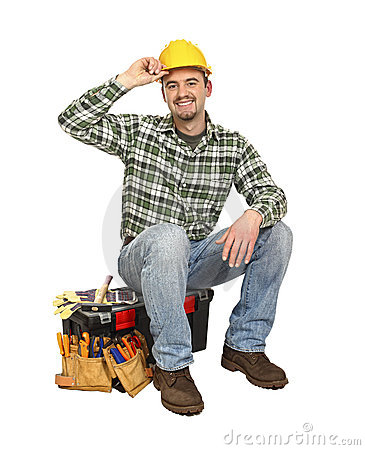 Happy worker on toolbox