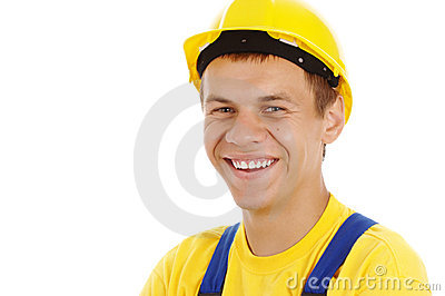 Happy worker wearing hard hat