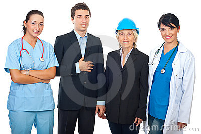 Happy workers  over white background