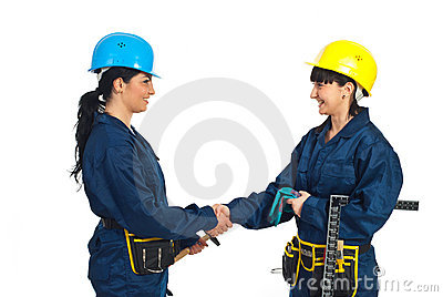 Happy workers women handshake