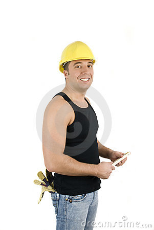 Happy workman with hard hat