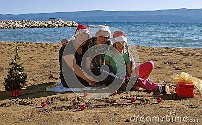 Happy Xmas family  on beach